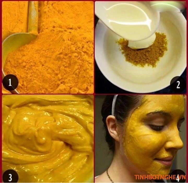 tác dụng của mặt nạ tinh bột nghệ và sữa chua không đường